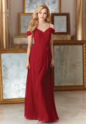 Mori Lee 141.  Mori Lee Chiffon Bridesmaid Dress with Draped Off the Shoulder Cap Sleeves with a matching Sash.  Available in all Mori Lee Chiffon Colors.