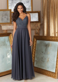 Mori Lee 146.  Mori Lee Elegant Beaded Lace and Chiffon Bridesmaid Dress. Available in Mori Lee Lace Colors.