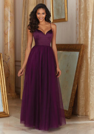 Mori Lee 153.  Mori Lee Floor Length Satin and Tulle Bridesmaid Dress. Available in Mori Lee Tulle Colors.
