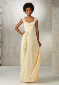 Mori Lee 21520.  A Soft Ruffled Neckline Creates a Flattering Feminine Look on This Chiffon Bridesmaids Dress. Matching Tie Sash Accents the Natural Waist. Zipper Back. Shown in Buttercup and White Smoke. Available in Print Chiffon or All Solid Chiffon Color Options.