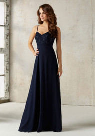 Mori Lee 21526.  Delicate Beading Beautifully Accentuates the Lace Bodice on this A-Line Chiffon Bridesmaids Dress. Zipper Back. Shown in Navy. Available in All Solid Lace Color Options.