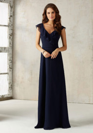 Mori Lee 21527.  This Stunning Chiffon Bridesmaids Dress Features a Romantic Ruffled V Neckline and Open Keyhole Back. Zipper Back. Shown in Navy. Available in All Solid Chiffon Color Options.