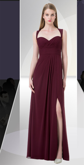 DZAGE 8106.   Chiffon gown with a sweetheart pleated neckline, shoulder straps tie at neck with an open keyhole back. Pleated cummerbund with off-center gathers accent the skirt. Available in all Chiffon Colors.
