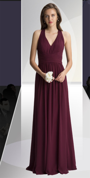 DZAGE 8124.  Chiffon V-neck halter top gown with a large key hole back. Soft pleats accent the bodice. Ruched cummerbund accents the natural waist. Soft gathers surround the A-line skirt. Available in all Chiffon Colors.