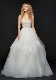Hayley Paige Jax 6763.  Hayley Paige bridal gown - Ivory embroidered tulle bridal ball gown, sweetheart bodice with crystal and alabaster accent, t-strap back and cascading tulle skirt with horsehair trim.