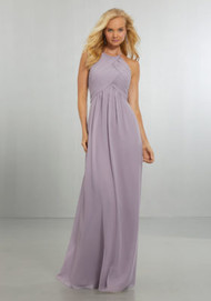 Mori Lee 21570.  Draped Halter Chiffon Gown with High Neckline and Keyhole Back, Accented with a Crystal Button and Back Zipper. View Chiffon Swatch Card for Color Options. Shown in French Lilac.