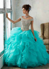 Mori Lee 89138.  Beautiful Quinceaera Ballgown featuring a Fully Beaded Bodice with Off-the-Shoulder Neckline and a Breathtaking Flounced Organza Skirt Accented with Horsehair Trim. Matching Bolero Jacket included. Colors available: Deep Aqua/Nude, Blush/Nude, White/Nude.