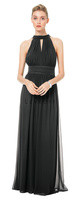 Bill Levkoff 1503.  Chiffon halter gown with a tie back and tails, key hole front and back. Vertical pleats adorn the bodice. Ruched band accents the natural waist. Soft gathers adorn the skirt giving it extra fullness. Available in all BIll Levkoff Chiffon Colors.