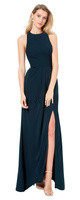 Bill Levkoff 1517.  Hamlet Crepe jewel neck sleeveless gown. Wide open keyhole back. Vertical gathers adorn the back of the skirt. Off-center high front slit. Available in: White, Champagne, Petal Pink, Slate, Wine, Plum, Navy, and Black.