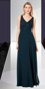 Dzage 8133.   Lace sleeveless V-front and back bodice. A-line chiffon skirt. Available in All Bill Levkoff Lace Colors.