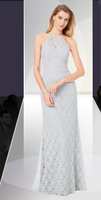 Dzage 8136.  Corded lace fitted spaghetti strap halter gown with a trumpet. Available in all Bill Levkoff Corded Lace Colors only.
