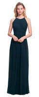 LVK 7017.  Chiffon high neck sleeveless gown with diagonal pleats embellishing the bodice. Button closure at neck with a large keyhole back. Ruched cummerbund accents the waist. Soft gathers surround the skirt. Available in all Bill Levkoff Chiffon Colors.