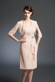 Jasmine 150018.  Knee Length Sweetheart Neckline Chiffon MOB Dress with Jacket. Available in: All Jade Chiffon Colors. Shown in Peach.