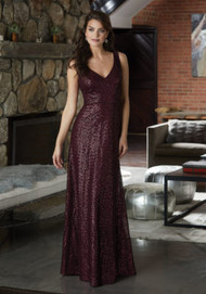 Mori Lee 21584.  Luxurious Caviar Mesh Bridesmaid Dress with V-Neckline and V-Back. View the Chiffon Caviar Mesh Swatch Card for Color Options. Shown in Bordeaux.