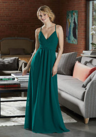 Mori Lee 21586.  Sexy Chiffon Bridesmaid Dress with Deep V-Neckline. Sexy Criss Cross Straps and a Diamond Keyhole Back Complete the Look. View Chiffon Swatch Card for Color Options. Shown in Emerald.