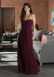Mori Lee 21595.  Chic Chiffon Bridesmaid Dress Featuring a Ruched Sweetheart Bodice with V-Strap Detail. A Diamond Keyhole Back and Flowy A-Line Skirt with Pockets Complete the Look. View the Chiffon Swatch Card for Color Options. Shown in Bordeaux.
