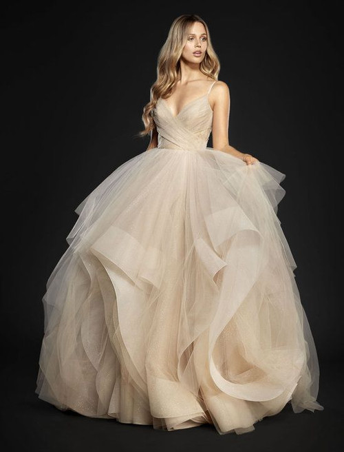 Hayley Paige 6709 Chandon. Moet stardusted tulle bridal ball gown, crisscross draped sweetheart bodice and low scoop back, cascading skirt with horsehair trim and sparkle net accent. Also available in Ivory and Ros.