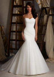 Mori Lee 5108.  Soft net mermaid with zipper back and buttons.  Also available in corset back.  Available in white and ivory.