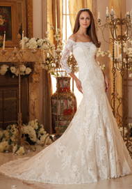 """Mori Lee 5477.  Soft tulle lace long sleeve gown with chantilly and embroidered lace appliques.  Available in White, Ivory, and Ivory/Light Gold.  Available in three lengths:  55"""", 58"""", and 61""""."""
