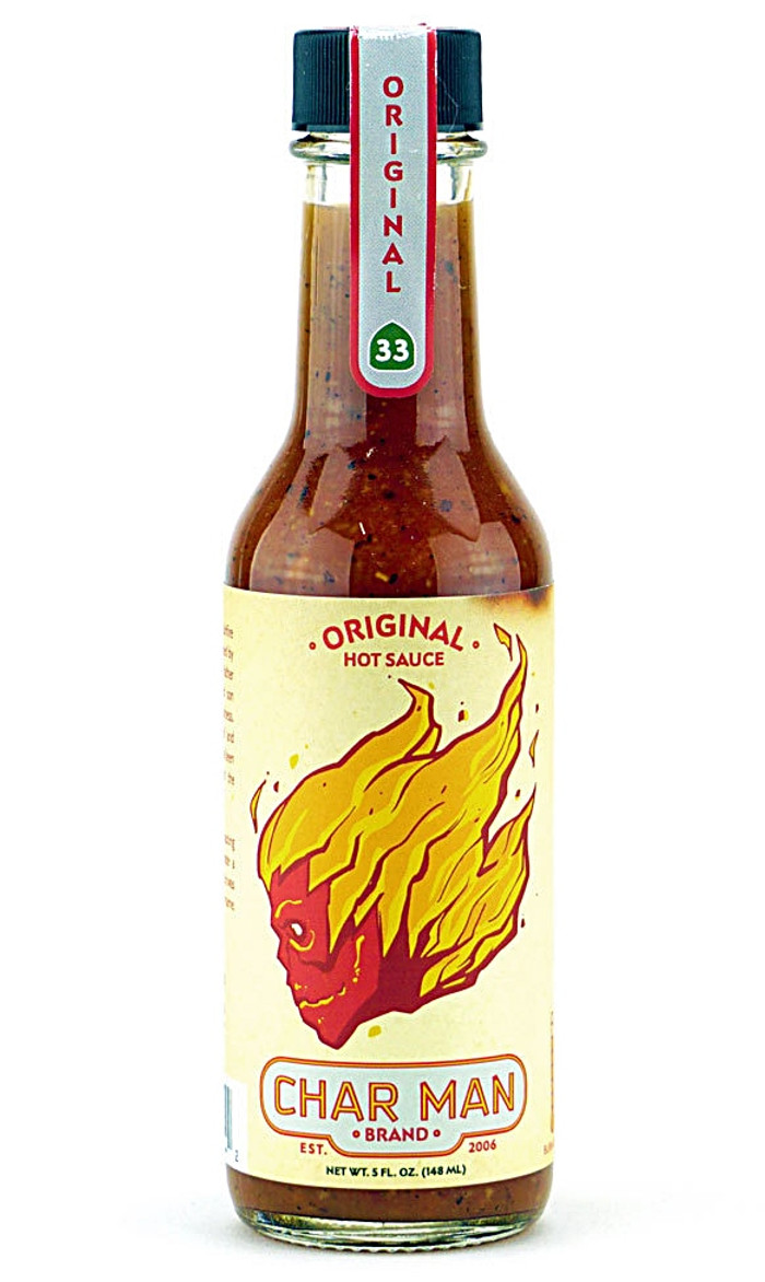 Char Man Original Hot Sauce available at Pepper Explosion