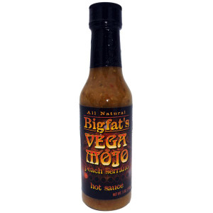 Vega Mojo Peach Serrano Sauce now available at Pepper Explosion