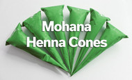 Six Mohana henna cones in green mylar packaging