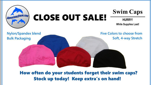 CLEARANCE ITEMS Unprinted Swim Caps - Bulk Pricing  (Screen Printing Available w/ YOUR logo)