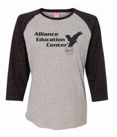 Alliance Education Center Ladies Jersey  3/4 Sleeve Baseball Tee