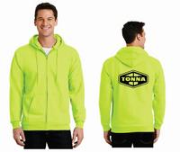 Tonna Safety Green Full Zip Hooded Sweatshirt