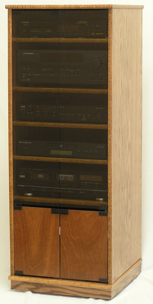 """modern component stereo cabinet with glass doors 53"""" high oak"""
