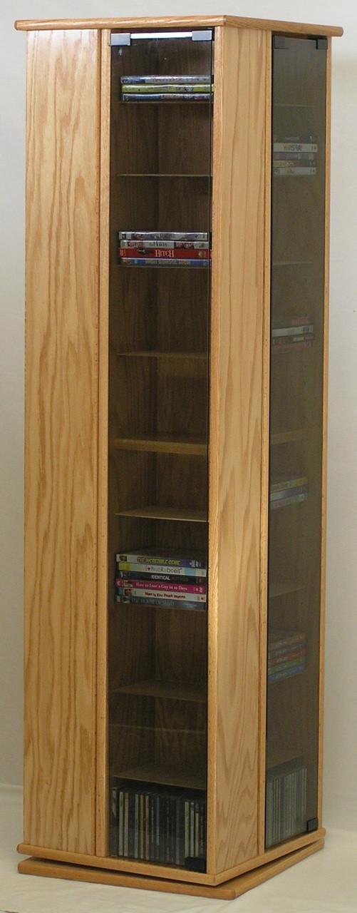 Swivel CD DVD Rack 60 High Oak Maple plywood Made in USA SHIPS FREE