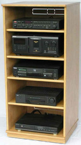 "Stereo cabinet 50""H with 4 adjustable shelves.  http://www.decibeldesigns.com  telephone 888.850.5589"