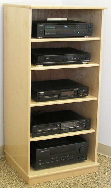 Maple stereo cabinet 50 inches high. 4 adjustable shelves. http://www.decibeldesigns.com  telephone 888.850.5589