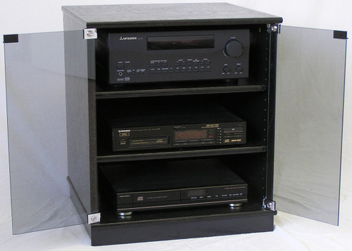of small black oak tv stand with gray tint glass doors