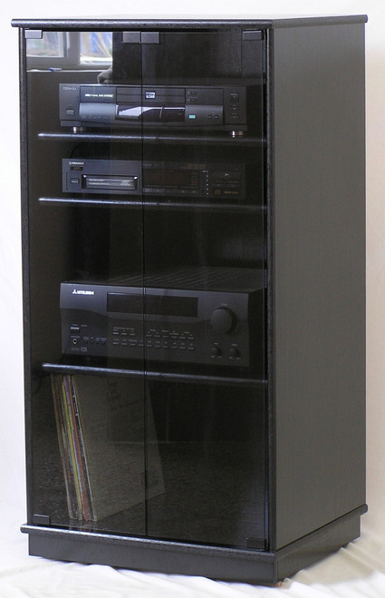 full front view of a taller black oak tv stand with gray tint glass doors