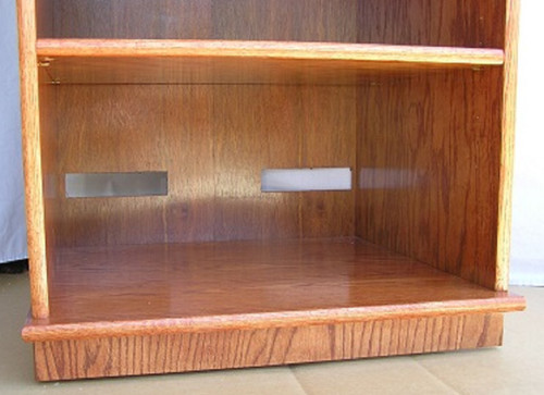 "stereo rack w glass doors 27""-73"" high oak maple free shipping usa"