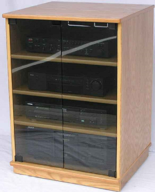 TV stands with glass doors shown in light brown oak with gray tint tempered doors.  decibeldesigns.com 888.850.5589