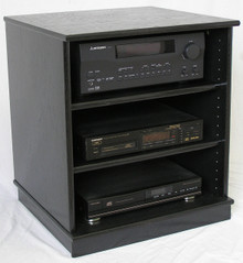 Best front view of small black oak entertainment center stereo cabinet. (888) 850-5589 http://www.decibeldesigns.com