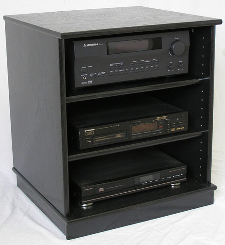 Tv Component Cabinet With Glass Doors : Small Black Oak Entertainment  Center Stereo Cabinet