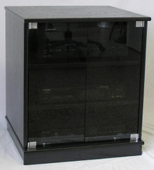 Full front view of  small black oak TV stand with gray tint glass doors entertainment center stereo cabinet 27 Inches high. (888) 850-5589 http://www.decibeldesigns.com