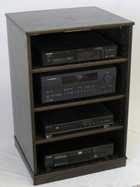 Front main view of our Ebony oak TV stand stereo cabinet 33 inches high. (888) 850-5589 http://www.decibeldesigns.com