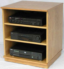 "Stereo cabinet 27"" high shown in light brown oak."