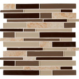 Salerno Interlocking 12 in. x 12 in. x 6 mm Glass Stone Mesh-Mounted Mosaic Tile