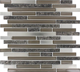 Niagra Interlocking 12 Inch.  X 12 Inch.  X 8 Mm Glass Metal Stone Mesh-Mounted Mosaic Tile (10 Sq. Feet.  / Case)