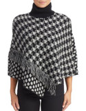 Armani Jeans Dot and Houndstooth Poncho - BLACK - SMALL