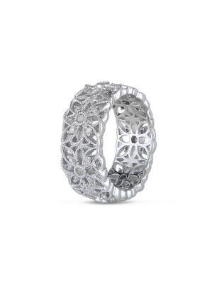 Concerto 0.33TCW Diamond Sterling Silver Flower Ring - DIAMOND - 8