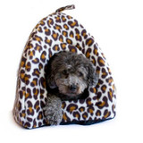 Animal Print Closed Hooded Hut w removable Cushion - 16 Inch x14 Inch x16 Inch