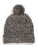Black Brown 1826 Chunky Knit Tweed Pom Pom Hat - Natural