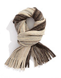 Black Brown 1826 Chunky Knit Ombre Scarf with Fringe - Beige