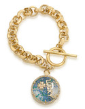 Carolee Word Play Shake Dont Stir LUCKY Bracelet Gold Tone Crystal Charm Bracelet - Gold